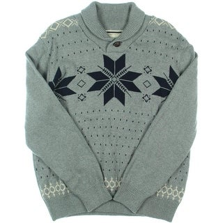 Weatherproof Mens Vintage Fair Isle Long Sleeves Shawl-Collar Sweater