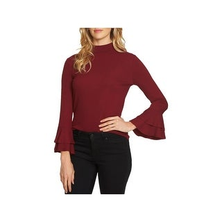 1.State Womens The Curator Mock Turtleneck Sweater Ruffled-Sleeve Ribbed Knit