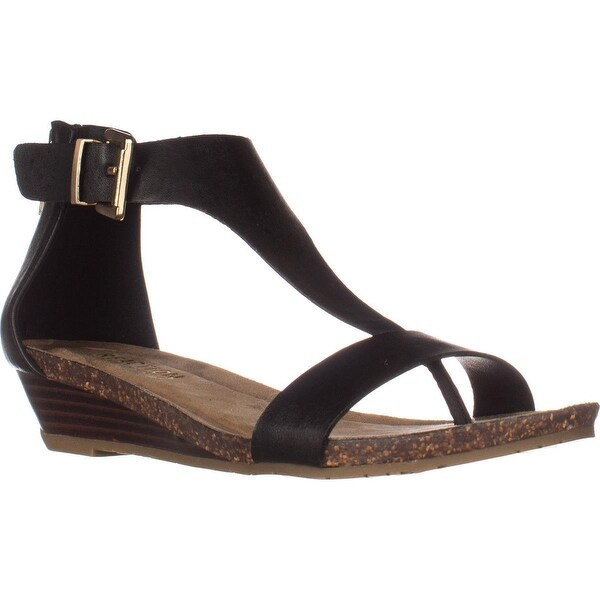 Kenneth Cole REACTION Great Gal T-Strap Wedge Sandals, Black