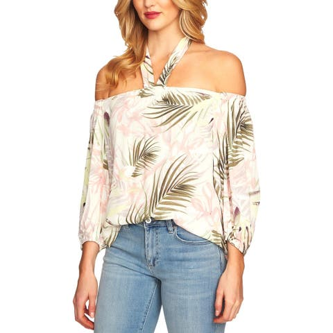 CeCe Womens Halter Top Off-The Shoulder Printed