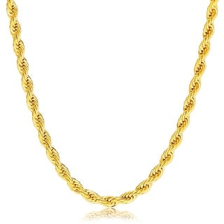4MM Diamond-Cut Rope Chain Necklace in 14K Hollow Solid Gold BOXED