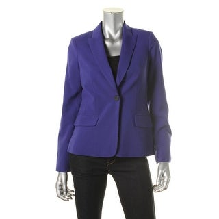 Calvin Klein Womens Petites Shoulder Pads Long Sleeves One-Button Blazer