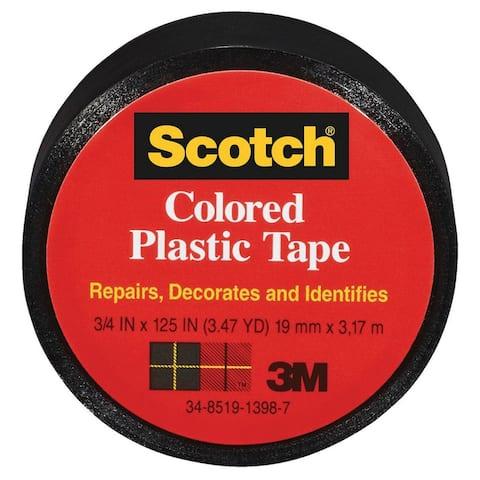 "Scotch 190BK Colored Plastic Tape, 3/4"" x 125"", Black"
