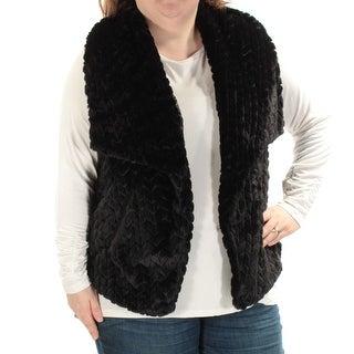 Womens Black Sleeveless Open Cardigan Vest Top Size 2X