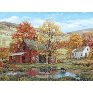 "Jigsaw Puzzle Fred Swan 1000 Pieces 24""X30""-Friends in Autumn - Red"