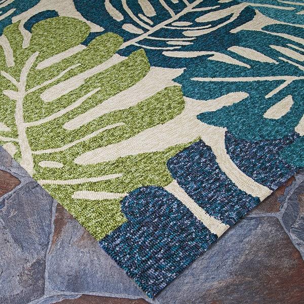 Miami Arum Teal Navy Indoor Outdoor Area Rug Overstock 14217009
