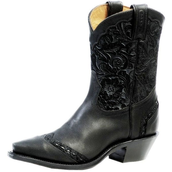 Boulet Western Boots Womens Cowboy Leather Snip Selvaggio Noir