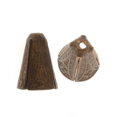 Vintaj Natural Brass Ornate 10x14mm Cone Bead Caps (2)