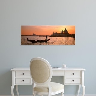 Easy Art Prints Panoramic Images's 'Gondola in a canal at sunset, Santa Maria Della Salute, Venice, Italy' Canvas Art