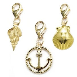 Julieta Jewelry Anchor, Conch Shell, Seashell 14k Gold Over Sterling Silver Clip-On Charm Set