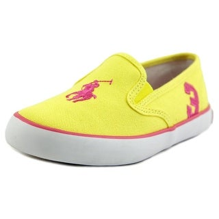 Ralph Lauren Layette Serena II Youth Round Toe Canvas Yellow Sneakers