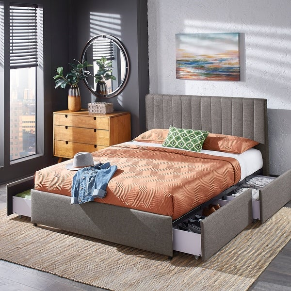 Arlert Grey Linen Storage Platform Bed with Channel Headboard by iNSPIRE Q Modern. Opens flyout.