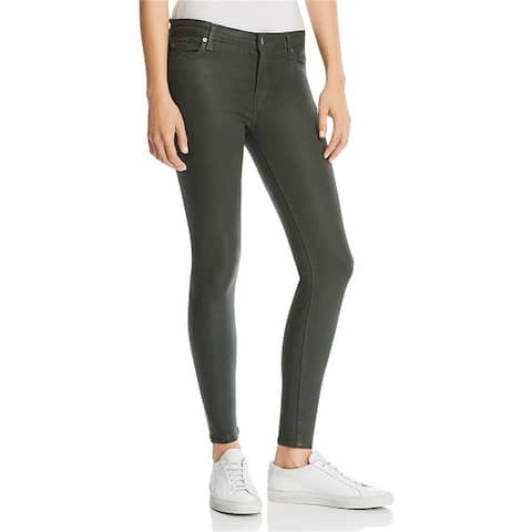 7 For All Mankind Womens Coated Ankle Skinny Fit Jeans