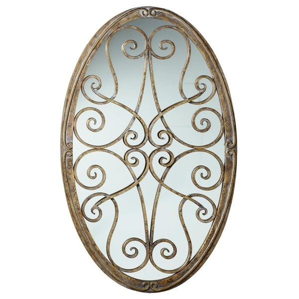 """Shop 45.5"""" Golden Brown Antique Styled Oval Framed Mirror with ..."""