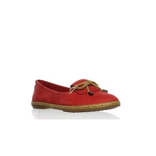 Hush Puppies Womens Adena Piper Red Leather Ballet Flats Size 5.5