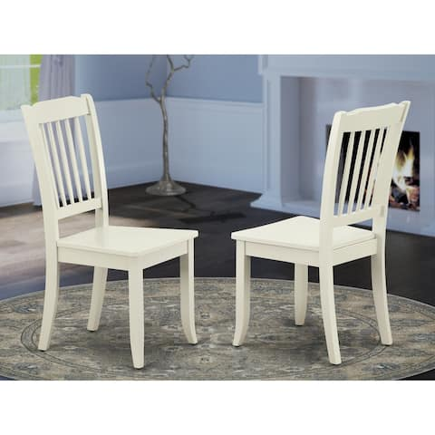 Danbury Vertical Slatted Back Chairs in Linen White Finish (Set of 2) - DAC-LWH-W