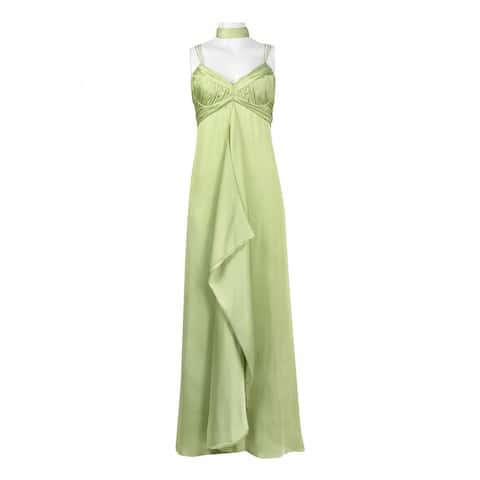 JS Collections Spaghetti Strap Ruched Zipper Back Flutter Solid Dress, Green, 10