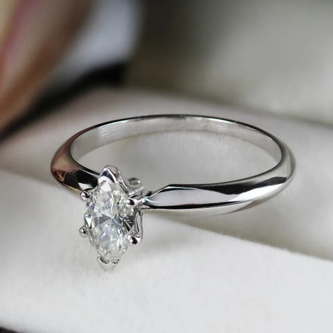 Auriya 14k Gold 1/2ctw Marquise-cut Solitaire Diamond Engagement Ring