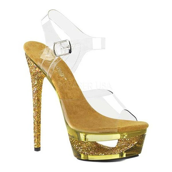 0093a0d683e833 Shop Pleaser Women s Eclipse 608GT Ankle Strap Sandal Clear Gold Multi  Glitter Tinted Synthetic - Free Shipping Today - Overstock - 21908992