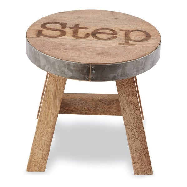 Step Stool Natural Wood With Galvanized Tin 10 Inches