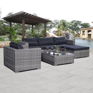 Costway Gray 6pc Patio Sofa Furniture Set PE Rattan Outdoor Aluminum w/cushion