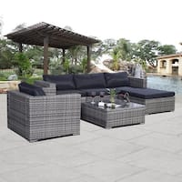 Costway Gray 6pc Patio Sofa Furniture Set PE Rattan Outdoor w/cushion - mix brown