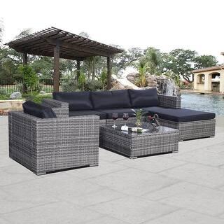 Costway Gray 6pc Patio Sofa Furniture Set Pe Rattan Outdoor W Cushion