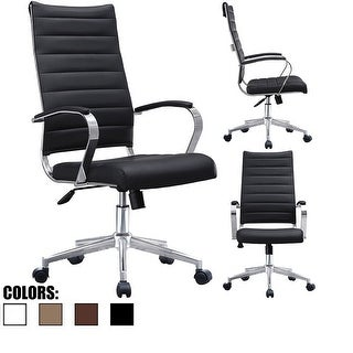 2xhome - Modern High Back Tall Ribbed Office Chair PU Leather Swivel Tilt Adjustable Cushion Chair Designer Boss Executive