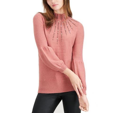 Alfani Studded Turtleneck Sweater (Withered Rose, S) - Small