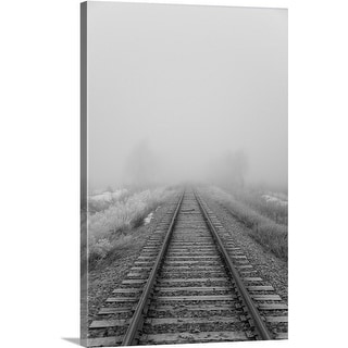 Premium Thick-Wrap Canvas entitled Railroad tracks fade into the morning fog