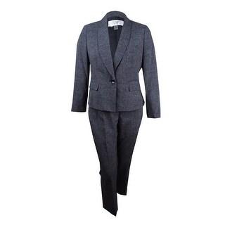 Le Suit Women's Petite One-Button Pantsuit (2P, Black/White) - BLACK/WHITE - 2p