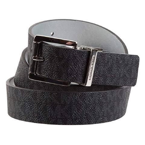 Michael Kors Womens Reversible MK Logo Silver Buckle Black/Silver Belt, 553751C
