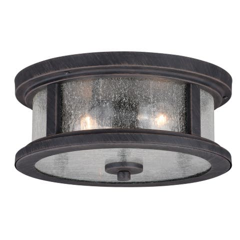 Cumberland Iron Bronze Rustic Outdoor Flush Mount Ceiling Light with Edison Bulbs - 13-in W x 6-in H x 13-in D