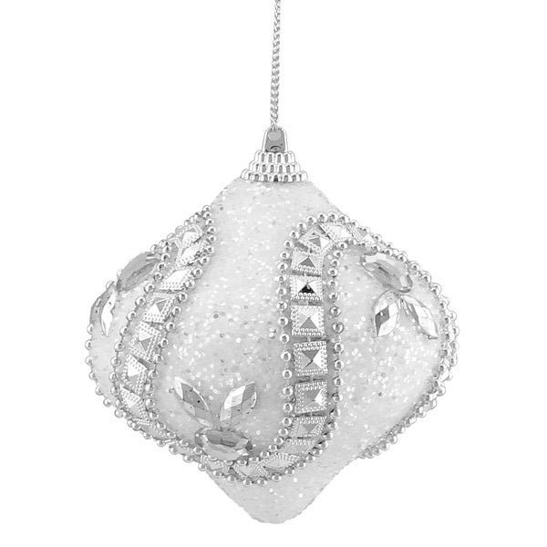 "3ct White and Silver Rhinestone and Glittered Shatterproof Onion Christmas Ornaments 3"" (75mm)"