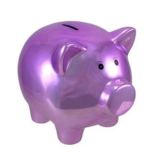 Metallic Purple Plated Ceramic Piggy Bank 8 In.