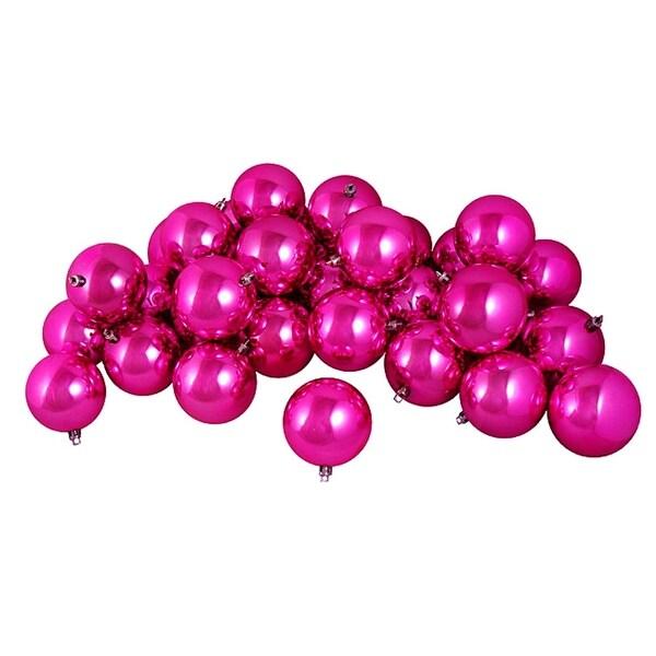 "12ct Shiny Pink Magenta Shatterproof Christmas Ball Ornaments 4"" (100mm)"