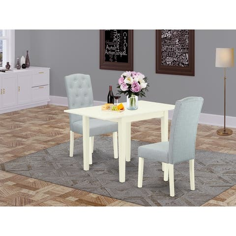 Rectangle Wood Table and Wooden Parson Dining Chairs with Baby Blue Color Linen Fabric Seat (Pieces Option)