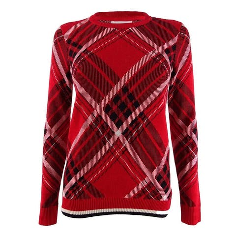 Charter Club Women's Petite Plaid Sweater - Ravishing Red Combo