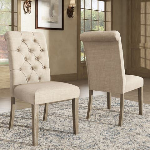 Benchwright Linen Tufted Dining Chair with Grey Finish Legs (Set of 2) by iNSPIRE Q Artisan