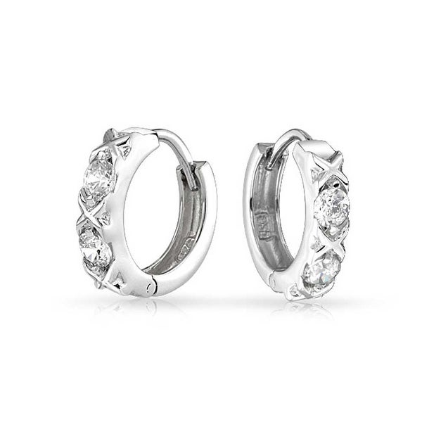 Bling Jewelry Xoxo Hugs And Kisses Cz Small Hoop Earrings Sterling Silver