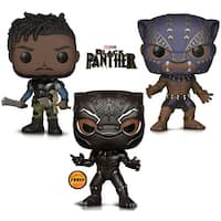Funko Pop! Marvel Black Panther Limited Edition Chase, Black Panther Warrior Fall and Killmonger Vinyl Figures (3 Items)