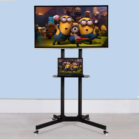 Costway TV Cart Stand Plasma LCD LED Flat Screen Panel w/ Wheels Mobile Fits 30'' to 65''