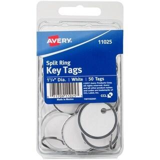 "Avery White Metal Rim Key Tags 1.25"" 50/Pkg-"