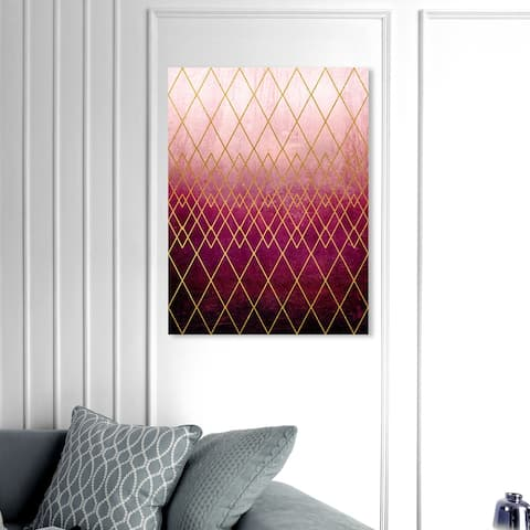 Oliver Gal 'Geometric Eyes Garnet' Abstract Wall Art Canvas Print Geometric - Gold, Pink