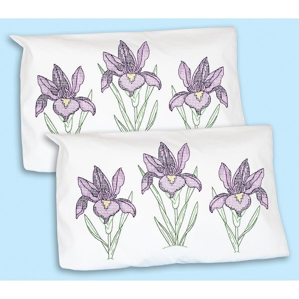 Stamped Pillowcase Shams 2/Pkg-Iris