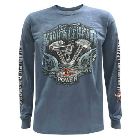 a1bb52bb86fb Harley-Davidson Men's Brute Force Crew Neck Long Sleeve Shirt - Indigo Blue