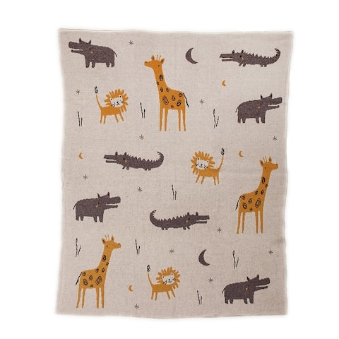 """Once Upon A Time In Zooland Light Grey Knitted 32"""" X 40"""" Baby Blanket - 32 x 40"""
