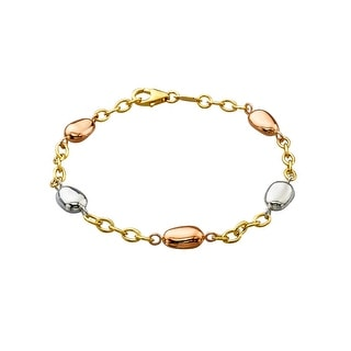 Link Bracelet in 14K Two-Tone Gold-Bonded Sterling Silver - three-tone