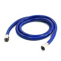 "Bathroom Blue Plastic Coated Inner Braided Design Water Heater Hose 59"" Long"