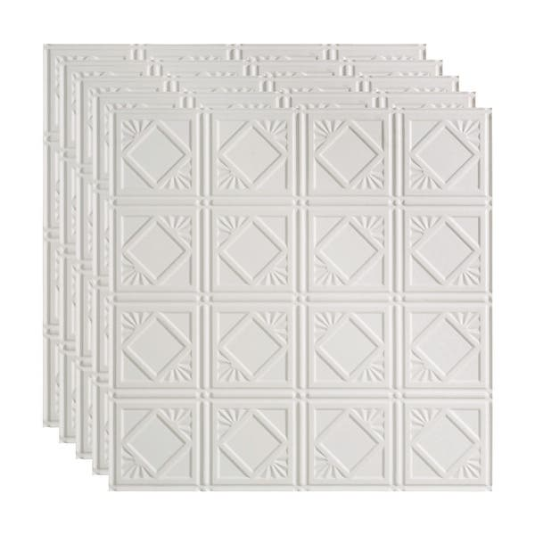 Fasade Traditional Style Pattern 4 Decorative Vinyl 2ft X 2ft Lay In Ceiling Tile In Matte White 5 Pack Overstock 32201430